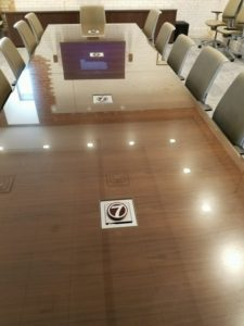 Custom Glass Table At KETVTV Station - Glass top conference room table