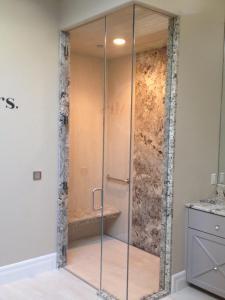 HG Door w/ Inline Panel & Return Panel  Hinges & C-Pull Buried in Tile