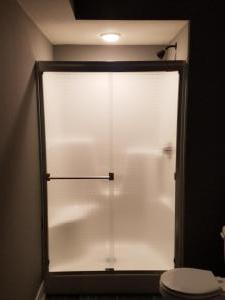 Alumax # 350 frameless slider BN with Master Ray Glass, standard towel bar and standard pull