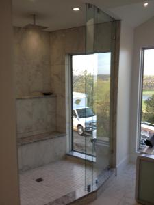 2 Heavy glass panels with glass to wall clips