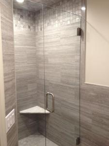 HG door with inline panel BN with clear hinges, C-Pull, U-Channel & Bottom Sweep