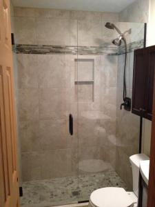 HG frameless door with inline panel ORG with clear hinges,  C-Pull, U-Panel, and bottom sweep