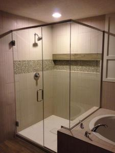 HG Frameless Door w/ Inline Panel & Return Buttress Hinges, Ladder pull, Euro header, U-Channel